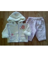 Girl's Size 3-6 M Month 2 Piece Outfit Floral Embroidered Hooded Top & P... - $6.00