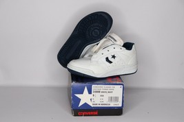 Vintage 90s New Converse Youth 9.5 Classic Ox Leather Tennis Shoes White... - $46.28