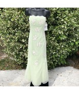 Morgan & Co Womens Juniors 7/8 Green Ivory Floral Formal Strapless Corse... - $48.51