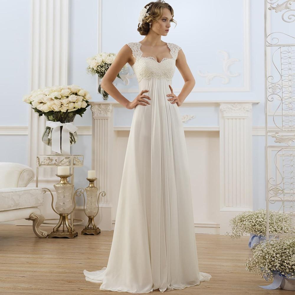 Simple empire waist wedding dress for pregnant woman chiffon boho bride dress hot sale plus size