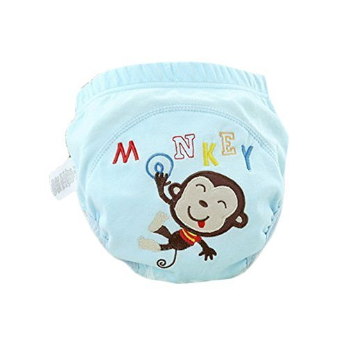 Lovely Cartoon Animal Pattern Baby Elastic Cloth Diaper Cover (M, 9-11KG,Monkey)