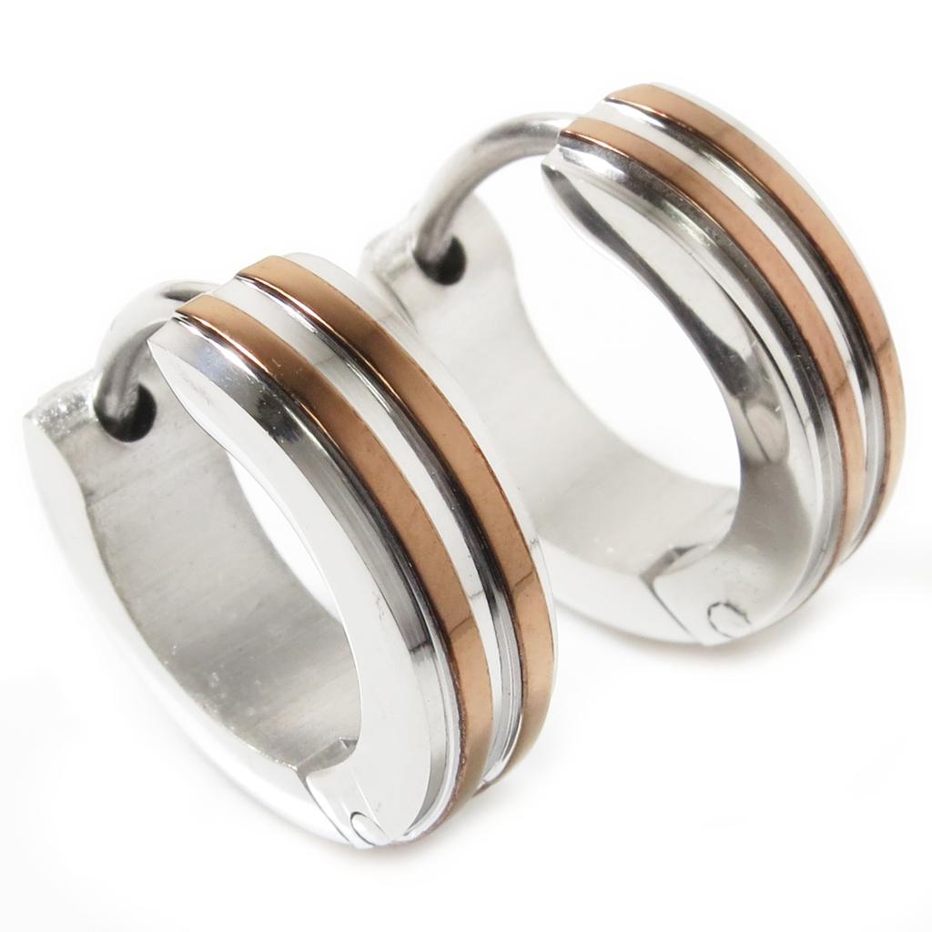 Pair stainless steel brown stripe hoop earrings mm