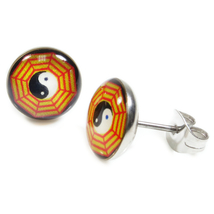 Pair Stainless Steel Round Chinese 8 Trigrams Post Stud Earrings 9mm - $7.49