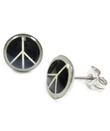 Pair Stainless Steel Round Peace Sign Post Stud Earrings 9mm - $7.49