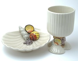 Vintage Fitz And Floyd Oceana Seashell Clam Shaped Dish And Goblet Cup 1975 - $52.37