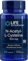 ORGANIC N-ACETYL- L- CYSTEINE (NAC)  600mg 60 Caps LIFE EXTENSION  - $38.21