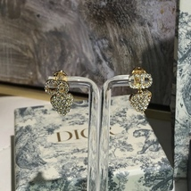 AUTH Christian Dior 2019 CLAIR D LUNE CD CRYSTAL LOGO HEART DANGLE STAR Earrings image 6