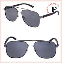 GUCCI 0422 Black Ruthenium Square Classic Mirrored Men Sunglasses GG0422S - $249.48