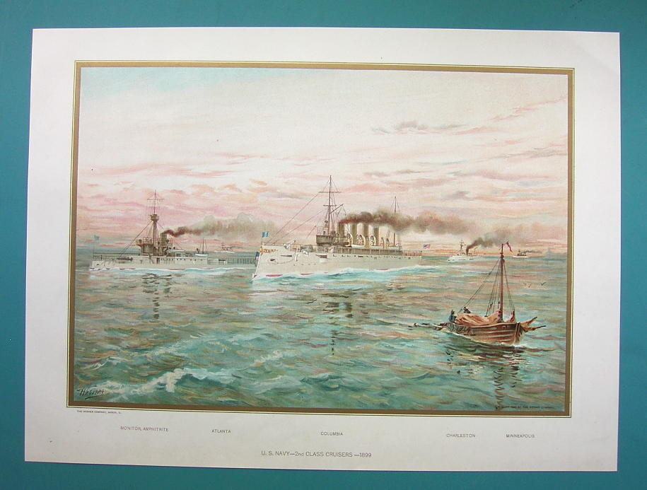 US NAVY 2nd Class Cruisers Monitor Atlanta etc - 1899 Color Lithograph Print
