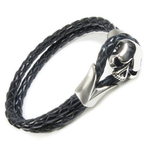"Stainless Steel Jawless Skull Leather Bracelet 8.5"" - $18.99"