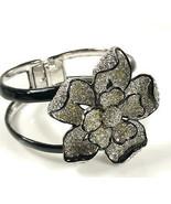 Kenneth Lane KJL Cuff Hinged Rhinestone Floral Bracelet FOR REPAIR ONLY - $18.38