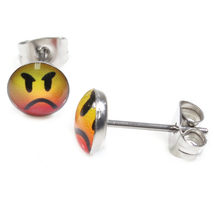 Pair Stainless Steel Round Angry Face Post Stud Earrings 7mm - $7.49