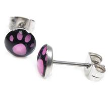 Pair Stainless Steel Round Bear Footprint Post Stud Earrings 7mm - $7.49