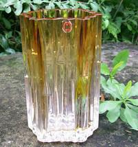 "Vintage Humppila Finland Vase Wirkkala Clear/Amber Hex Honeycomb 6.5"" Si... - $48.00"