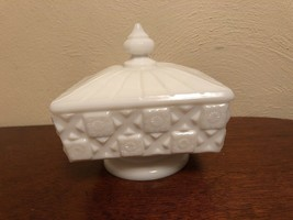 Westmoreland Old Quilt Compote Covered Milk Glass Checkerboard Vintage - $10.00