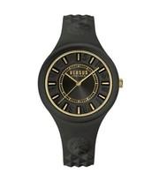 Versus Versace black fire island glitter  Quartz Stainless Steel Silicone Watch  - $109.16