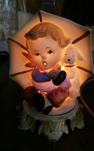 Vintage Aladdin Giftware Portable Lamp Bisque Porcelain Hummel Like Boy Umbrella - $16.78