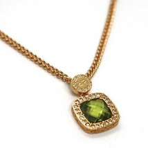 REBECCA BRONZE YELLOW NECKLACE, GROUMETTE CHAIN, GREEN CRYSTAL SQUARE, B14KOP22 image 2