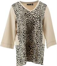 Susan Graver Weekend Animal French Terry Top Sequins Neutral L NEW A293614 - $40.57