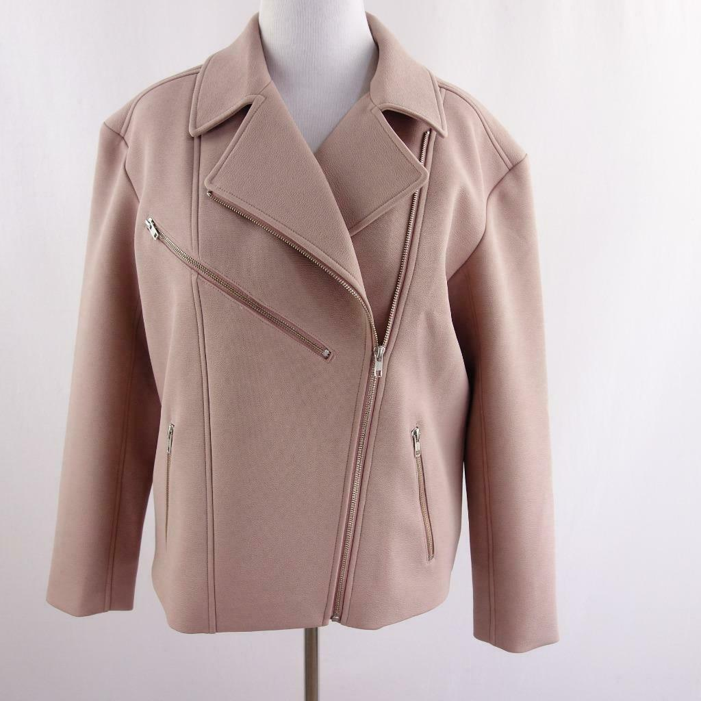 Primary image for Trouve Asymmetrical Zip Bonded Moto Jacket Pink Womens Sz L
