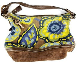 "FOSSIL ""Kristy II"" Floral Tie Dye Canvas Leather Trim Tote Hobo Bag Purse - $67.31"