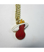 NBA Basketball Miami Heat Goldtone Metal Pendant & Chain by Peter David - $9.50