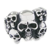Stainless Steel Skull Pile Men Biker Ring US Size 9 - $12.99