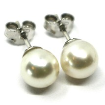 SOLID 18K WHITE GOLD STUDS EARRINGS, SALTWATER AKOYA PEARLS, DIAMETER 7.5/8 MM image 1