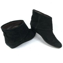Coclico Anthropologie 38 7.5 Black Suede Leather Kitten Wedge Ankle Boots - $73.87