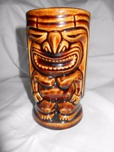 "Tiki Cup Mug 5.25"" Tall No Markings Vintage Leilai Brown God Fun  Ceramic - $10.39"