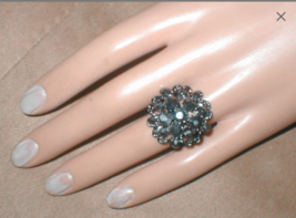 1960's Vintage Pewter Color Rhinestone Cocktail Ring - $18.32