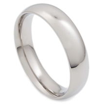 Stainless Steel Polish Comfort Fit Round Face Band Ring 5mm US Size 6 - $7.49