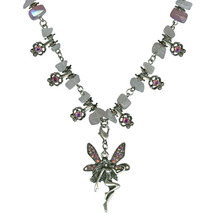 Antique Silver Rose Quartz Blushing Fairy Necklace - $32.00