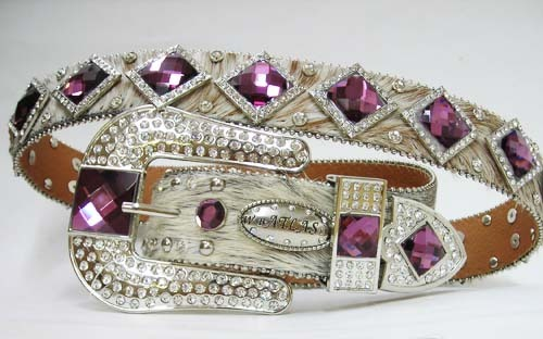 S M L BRINDLE HAIR LEATHER purple DIAMOND RHINESTONE BUCKLE WESTERN COWBOY BEL