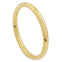 Stainless Steel Polish Gold Color Comfort Fit Round Face Band Ring 2mm US Size 1 - $6.49