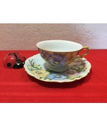 Vintage Bavaria Cup and Saucer Blue and Yellow Violet Flowers W Gold Trim - $30.00