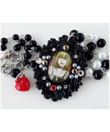 Death Note Necklace, Misa Amane Cameo Pendant, Beaded Rosary Chain, Silv... - $29.00