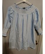 ZARA woman blue  Smocked Poplin Top Shirt 3/4  Sleeves - $17.75