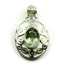 Pretty Green Amethyst Oval Shape Pendant 925 Sterling Silver Birthstone ... - $39.30