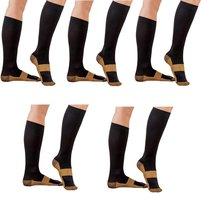 5 Pair Black/Gold Sm/Med - TASOM Compression Socks Over the Calf Below K... - £21.47 GBP