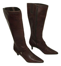 Anne Klein Knee High Boots Chime Iflex Brown Leather Womens Size 6 Buttery Soft  - $29.69