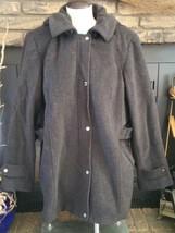 St Johns Bay Women's Jacket  Medium Wool Blend Winter Black Coat Hooded - €29,25 EUR