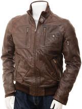 Men's Leather Bomber Jacket In Brown Bristol - £75.38 GBP