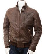 Men's Leather Bomber Jacket In Brown Bristol - $105.00
