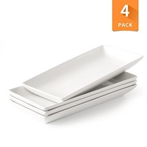 Porcelain Serving Platter Rectangular Plate/Tray for Party, 14-Inch Large White
