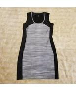 Athleta Women's BodyCon Black Gray Polka Dot Sleeveless Dress Summer Sz ... - $31.99