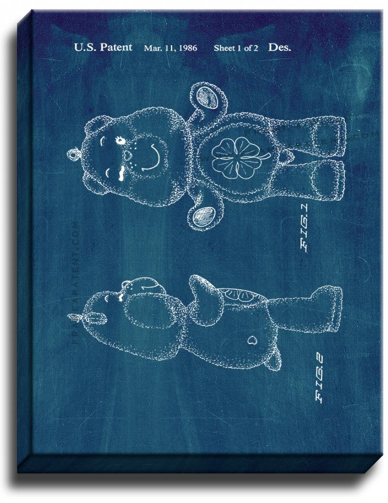 Primary image for Good Luck Care Bear Patent Print Midnight Blue on Canvas