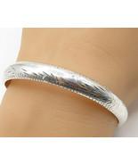 925 Sterling Silver - Vintage Hand Chased Filigree Hinged Bangle Bracele... - $38.85