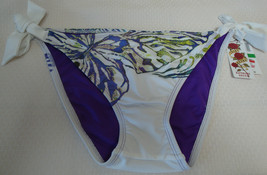 New Sexy Lucky Brand Women's Basic Fit Side Tie Bikini Bottom White Abstract L - $24.74
