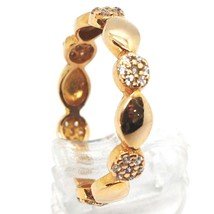 18K ROSE GOLD BAND RING, CUBIC ZIRCONIA, ALTERNATE FLOWERS AND PETALS image 2